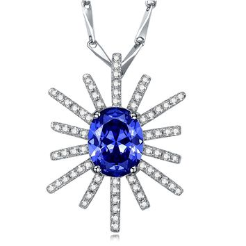 """Merthus 925 Sterling Silver 2ct Cubic Zirconia Starburst Pendant Necklace Jewelry for Women,18"""""""