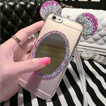Handmade Cell Phone Case Soft TPU with bling crystal and mirror free Mobile Phone Straps