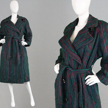 Vintage 80s Mohair Coat Fuzzy Coat Hairy Coat Pinstripe Jacket Vertical Stripes Oversized Trench Coat Fall Winter Coat 1980s Wide Shoulder