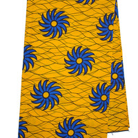 Yellow blue wax print fabric, for African Print dress, African Clothing, Ankara fabric,yellow,blue, flowers, african fabric by the yard