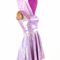 Lilac Purple Holographic Sleeveless Hoodie Skater Dress