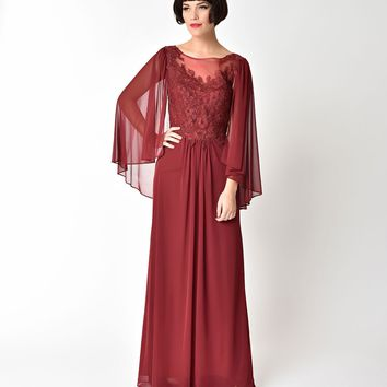 Burgundy Red Embellished Mesh Sleeved Cape Gown