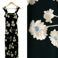 Vintage Maxi Dress~Size Small/Medium~90s Floral Black Beige Blue White Flower Shift Dress~By Jonathan Martin