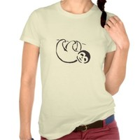 Baby Sloth Women's T-Shirt: Black and White Stencil Art