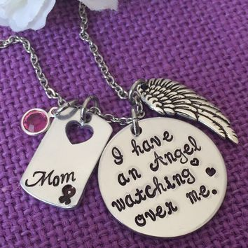 Memorial Jewelry Necklace - Jewelry  - Cancer awareness - Cancer loss - Remembrance Jewelry - in memory - i have an angel - mom - dad - gram
