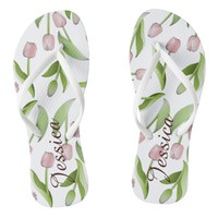 Pink Tulip Floral Patten Modern Chic Personalized Flip Flops