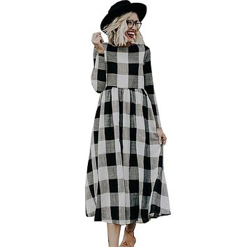 2019 Elegant Dress Plaid Print Summer Dresses Women White And Black Plaid Long Sleeve Mid-calf Length Loose Dress Large Size