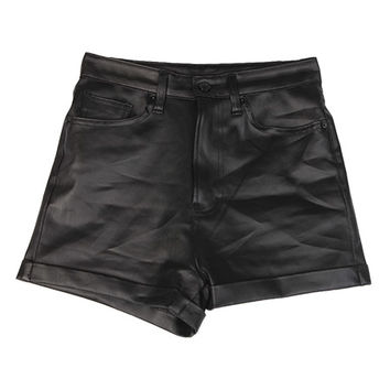 Black Leather Rollup Shorts