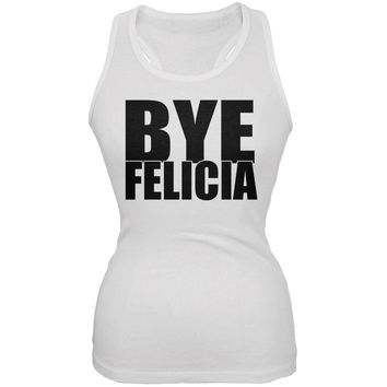 Bye Felicia White Juniors Soft Tank Top