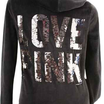Victoria's Secret Love PINK Zebra Sequin Bling Zip Hoodie Sweatshirt