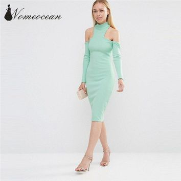 City Goddess High Neck Cold Shoulder Midi Dress Vintage Stand Collar Women Dresses Cut Out Slim Bodycon Brand Dress M17021010
