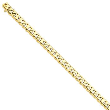 14k Yellow Gold 8.75mm Men Rounded Curb Chain Bracelet - Fine Jewelry Gift