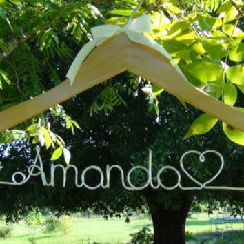 Personalized Keepsake Hanger, Custom Made Bridal Hangers, Bridal Shower Gift idea, Wedding Hangers with Names, Wedding Photo Props