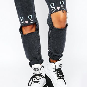 The Ragged Priest X Lazy Oaf High Rise Mom Jeans With Ripped Knees & Cat Face
