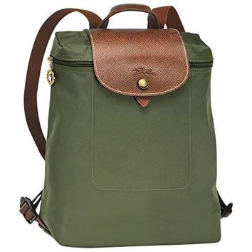 Backpack Khaki By Longchamp Paris Le Pliage 100% Authentic Original From Paris France - Beauty Ticks