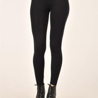 Knitted Black Basic Ankle Leggings