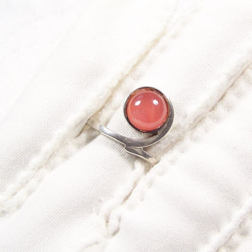 Sterling Silver Rhodochrosite Vintage Solitaire Ring