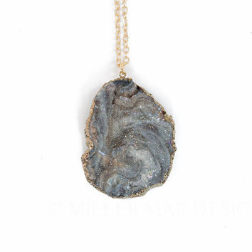 Druzy Pendant Necklace | Natural Necklace | Everyday Necklace | Boho Jewelry | Boho Necklace | Minimalist Necklace | Geode Necklace