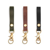 Black Long Loop Keychain with Brass Snap