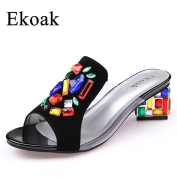 Ekoak New 2017 women High Heels rhinestone Genuine Leather Cow Suede Sandals party shoes fashion ladies women dress shoes woman