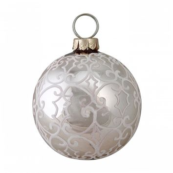 "4"" (100MM) Nature's Luxury Victorian-Style Scrollwork on Rose Gold Glass Christmas Ornament"