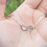 2017 Hot Sale Love Heart Necklace Dog/Cat Paw Print Charm Necklace Friendship Heart Necklace For Mom and daughter Gift