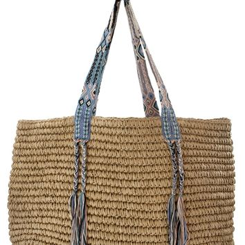 Boho Straw Bag - Flamingo