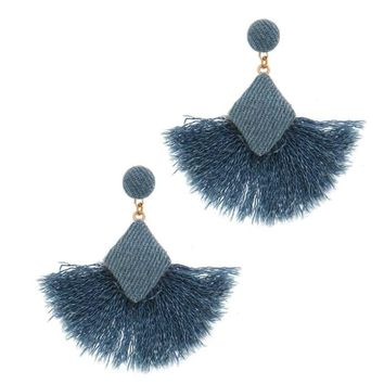 DENITA- Denim Tassel Fan Earrings