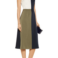 Tanya Taylor Poppy color-block washed silk-blend midi dress – 55% at THE OUTNET.COM