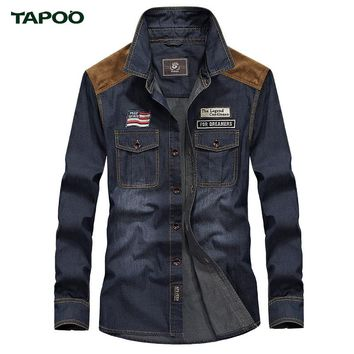 TAPOO Men's Shirts Cotton Denim Shirts Males Casual Shirts for Man High Quality Blue Modern Simple Classical Thin Jeans Shirts