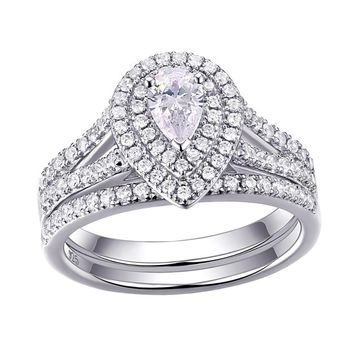 1.2 Carats Pear Shape CZ 925 Sterling Silver Wedding Engagement Ring Set