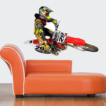 Dirt Bike Wall Decal - Dirt Bike Wall Sticker - Motocross Wall Decal - Dirt Bike Graphic - Motocross Wall Decor - Motorcycle Decal mc644