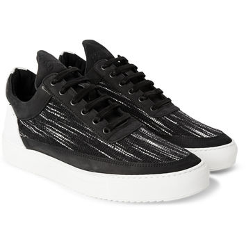 Filling Pieces - Nubuck-Trimmed Woven Sneakers | MR PORTER