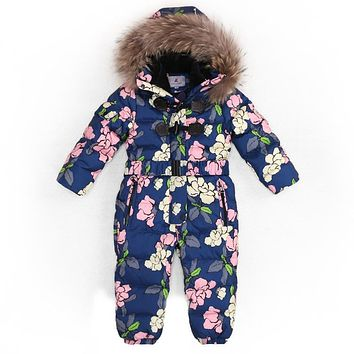 Outdoor Wear Kids Ski Suit Children Down Rompers With Genuine Fur Hood Warm Boys Girls Winter Jumpsuits For -30 Degree 3-8 Years