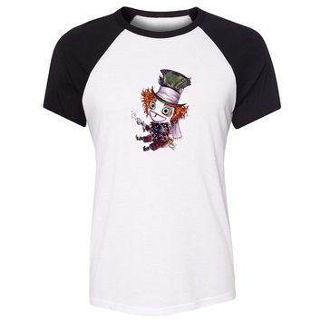 Cotton T-shirts women Short Sleeves Alice In Wonderland Cheshire Cat and  Gengar Design Top Tees Fashion Casual T-shirtKawaii Pokemon go  AT_89_9