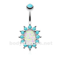 Elegant Opal Turquoise Belly Button Ring 14ga Navel Ring Body Jewelry Surgical Steel