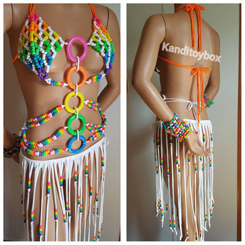 Sexy rainbow kandi bra with lace up corset back rave outfit, pride, festival outfit