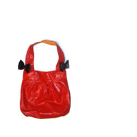 Large Red Slouchy Hobo Pleather Bows Womens Purse Hand Bag