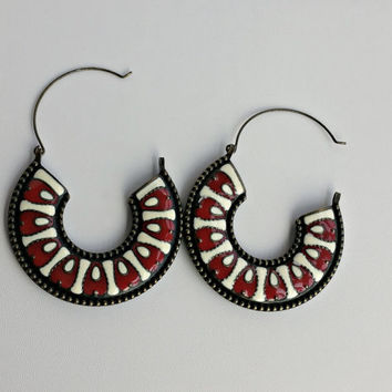Large Hoop Earrings - Enamel Creole Hoop Earrings - Red & White Enamel Earrings