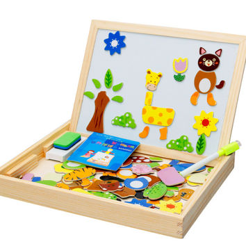 Wooden Toys Easel Kids Jungle Animal Magnetic Drawing Board Puzzle Painting Blackboard Learning & Education Toys For Kids