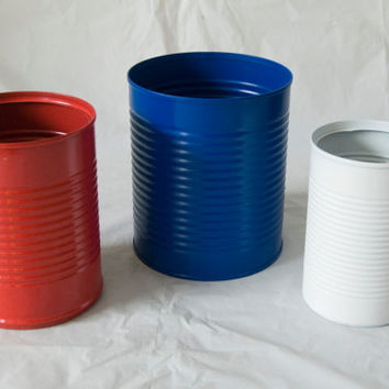 Assorted Sizes Three Tin Cans Painted Red, Blue, White 4th of July Memorial Day Patriotic Great for flowers or decoration Centerpieces Vases