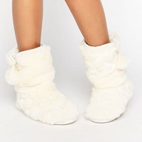 Oasis Fluffy Slipper Boots at asos.com