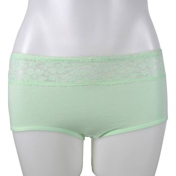 LADIES COTTON BIKINI EXTENDED SIDESEAM WITH LACE AT FRONT WAISTBAND