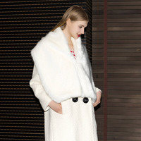 Casual White Wide Fur Collar Coat
