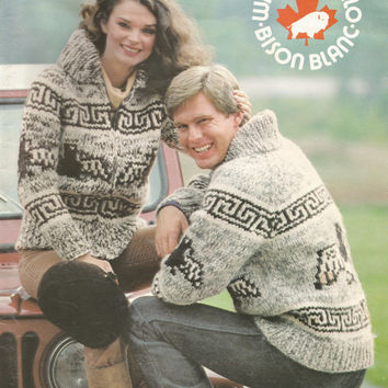 White Buffalo Pattern #16.  Cowichan Salish style sweater, Wool cardigan, Adult, Native Canadian, hippy, West coast, stranded his and hers