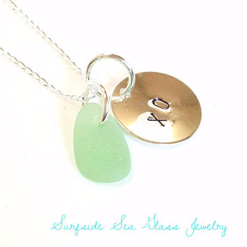 XO Necklace With Sea Foam Sea Glass Jewelry Or Your Choice Of Word