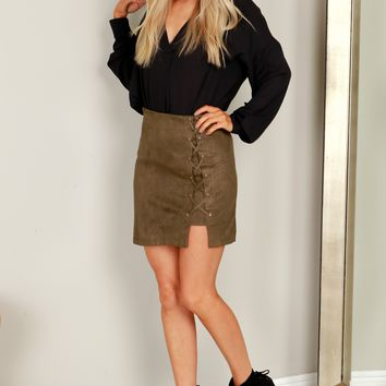 Suede Lace-Up Skirt Olive