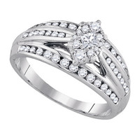 Diamond Fashion Bridal Ring in 14k White Gold 0.62 ctw