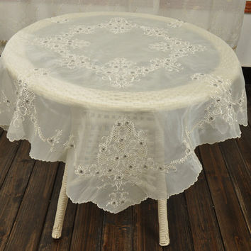 50%OFF Until 25th April, Shining Beaded Embroidery Tablecloth, Shabby Chic,
