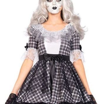 CREYI7E 3PC.Pretty Porcelain Doll,dress,bow headband,face mask in BLACK/WHITE